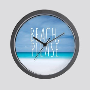 Beach please funny tropical hipster Wall Clock