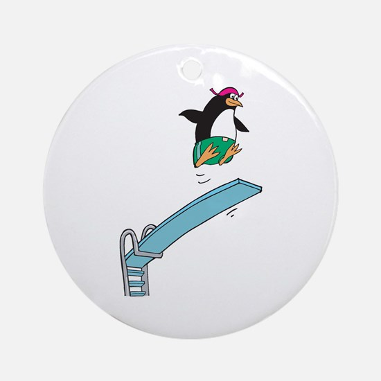 Funny Diving Penguin Ornament (Round)
