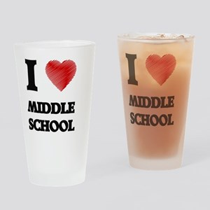 I Love Middle School Drinking Glass