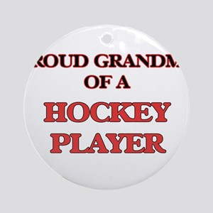Proud Grandma of a Hockey Player Round Ornament
