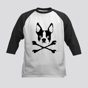 Boston Terrier Crossbones Kids Baseball Jersey