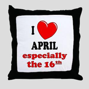 April 16th Throw Pillow