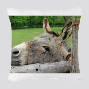 Donkey Just Wants a Hug Woven Throw Pillow
