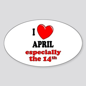 April 14th Oval Sticker