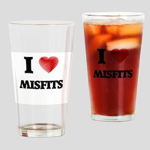 I Love Misfits Drinking Glass