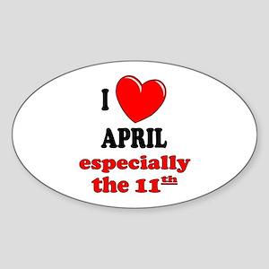 April 11th Oval Sticker