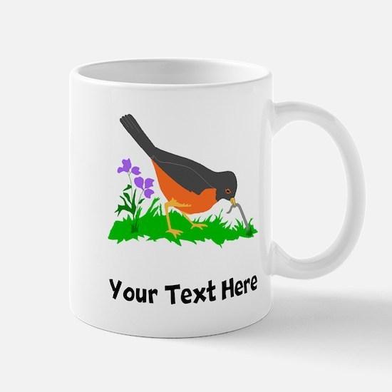 Bird Getting Worm (Custom) Mugs