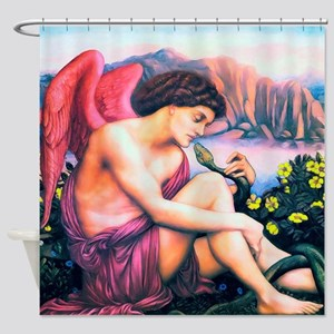 Angel with Serpent Shower Curtain