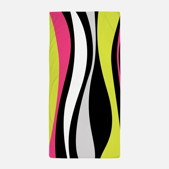 Neon Waves Beach Towel