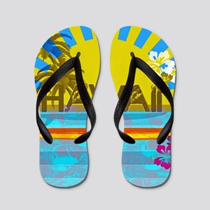 Hawaii Bright Colorful Colors Flip Flops