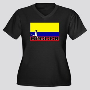 Colombia Flag Soccer Women's Plus Size V-Neck Dark