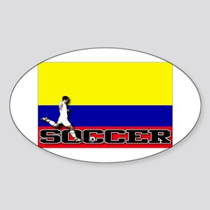 Colombia Flag Soccer Oval Sticker