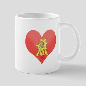 Two bears hugging on a heart. Mugs