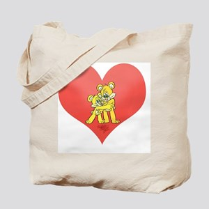 Two bears hugging on a heart. Tote Bag