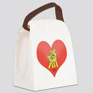 Two bears hugging on a heart. Canvas Lunch Bag