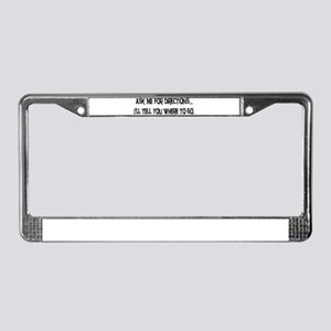 Directions License Plate Frame