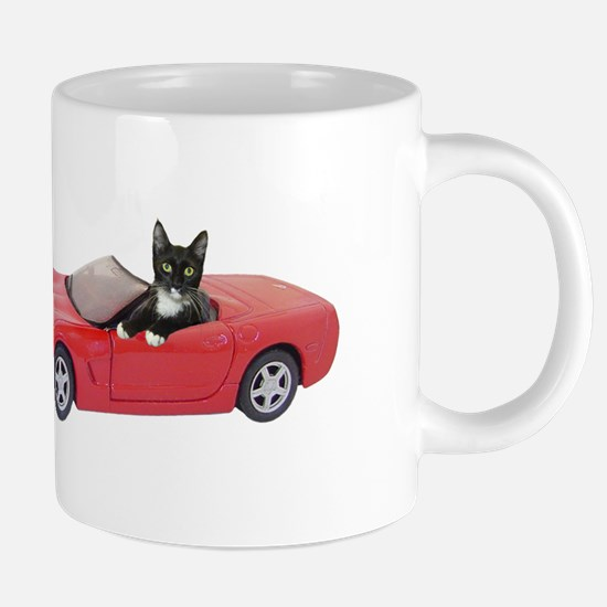 Cat in Red Car Stainless Steel Travel Mugs