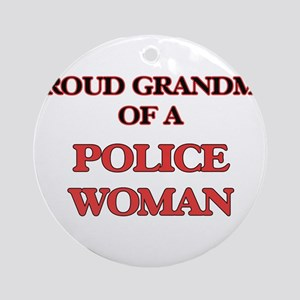 Proud Grandma of a Police Woman Round Ornament