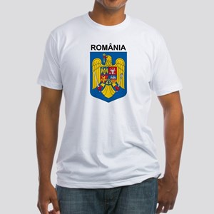 Romania arms with name Fitted T-Shirt