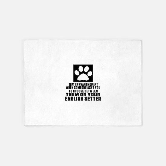 English Setter Awkward Dog Designs 5'x7'Area Rug