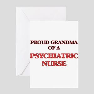 Proud Grandma of a Psychiatric Nurs Greeting Cards