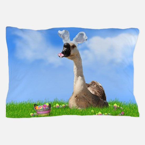 Easter Goose with Bunny Ears and Easte Pillow Case