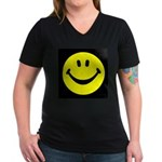 Happy Face Women's V-Neck Dark T-Shirt