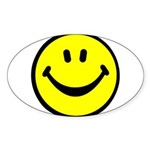 Happy Face Oval Sticker