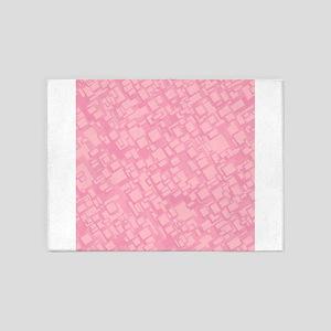 Pink Geometric Pattern 5'x7'Area Rug