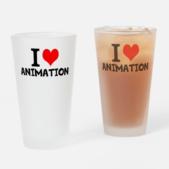 I Love Animation Drinking Glass