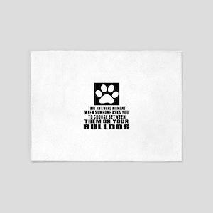 Bulldog Awkward Dog Designs 5'x7'Area Rug