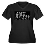 Ass Family Women's Plus Size V-Neck Dark T-Shirt