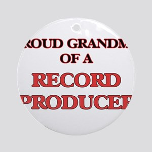 Proud Grandma of a Record Producer Round Ornament