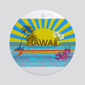 Hawaii Bright Colorful Colors Round Ornament