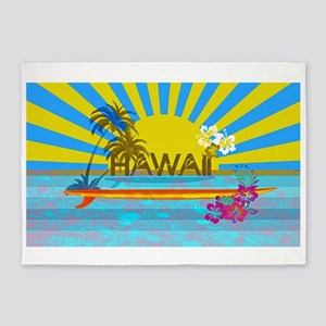 Hawaii Bright Colorful Colors 5'x7'Area Rug