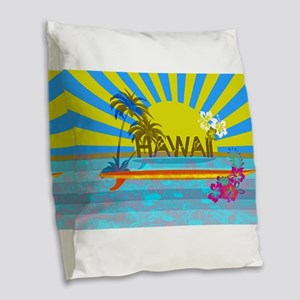 Hawaii Bright Colorful Colors Burlap Throw Pillow