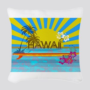 Hawaii Bright Colorful Colors Woven Throw Pillow