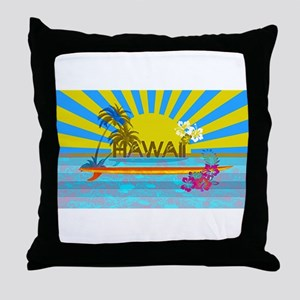 Hawaii Bright Colorful Colors Throw Pillow