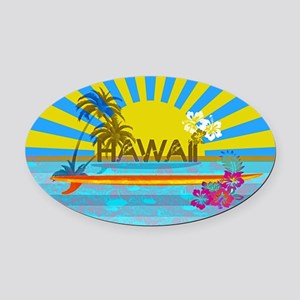 Hawaii Bright Colorful Colors Oval Car Magnet