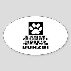 Borzoi Awkward Dog Designs Sticker (Oval)