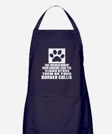 Border Collie Awkward Dog Designs Apron (dark)