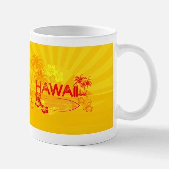 hawaii bright orange surf Mugs