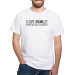 I Love Animals White T-Shirt