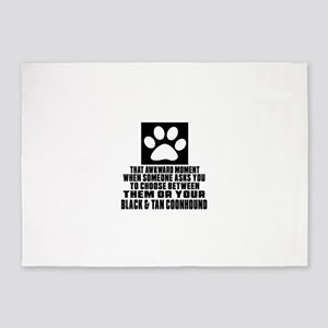 Black & Tan Coonhound Awkward Dog D 5'x7'Area Rug