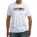 I Love Animals Fitted T-Shirt