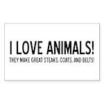 I Love Animals Rectangle Sticker