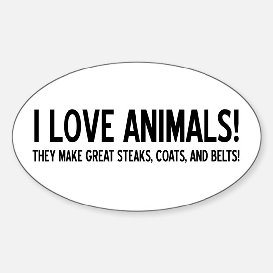 I Love Animals Oval Decal