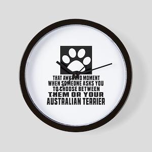 Australian Terrier Awkward Dog Designs Wall Clock