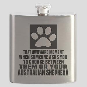 Australian Shepherd Awkward Dog Designs Flask