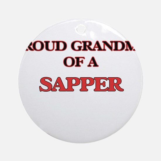Proud Grandma of a Sapper Round Ornament